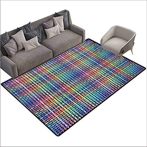 Floor Bath Rug Colorful Illustration of Crossed Stripes Knitted Pattern Abstract Composition of Squares Personality W70 xL94 Multicolor Double Crossed Bamboo Tree
