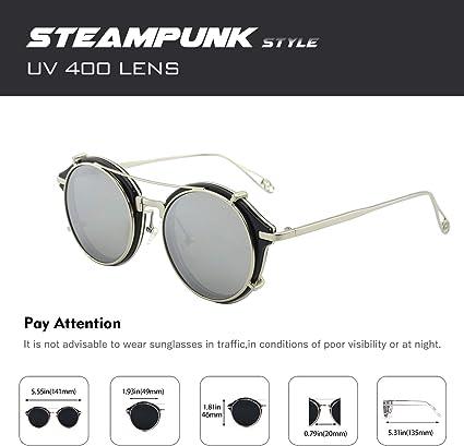 Ansu Ronde Rétro Vintage Hippie Cyber Lunettes Steampunk Homme Lunettes de soleil femme