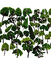 NW 32pcs 0.79-6.30inch Mixed Model Trees Accessories Model Train Scenery Architecture Trees Model Scenery with No Stands(All Green)