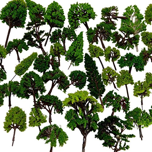 NW 32pcs Mixed Model Trees Model Train Scenery Architecture Trees Model Scenery with No Stands(0.79-6.30inch) (O Scale Trees)