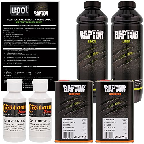 U-Pol Raptor GM White Urethane Spray-On Truck Bed Liner & Texture Coating, 2 Liters