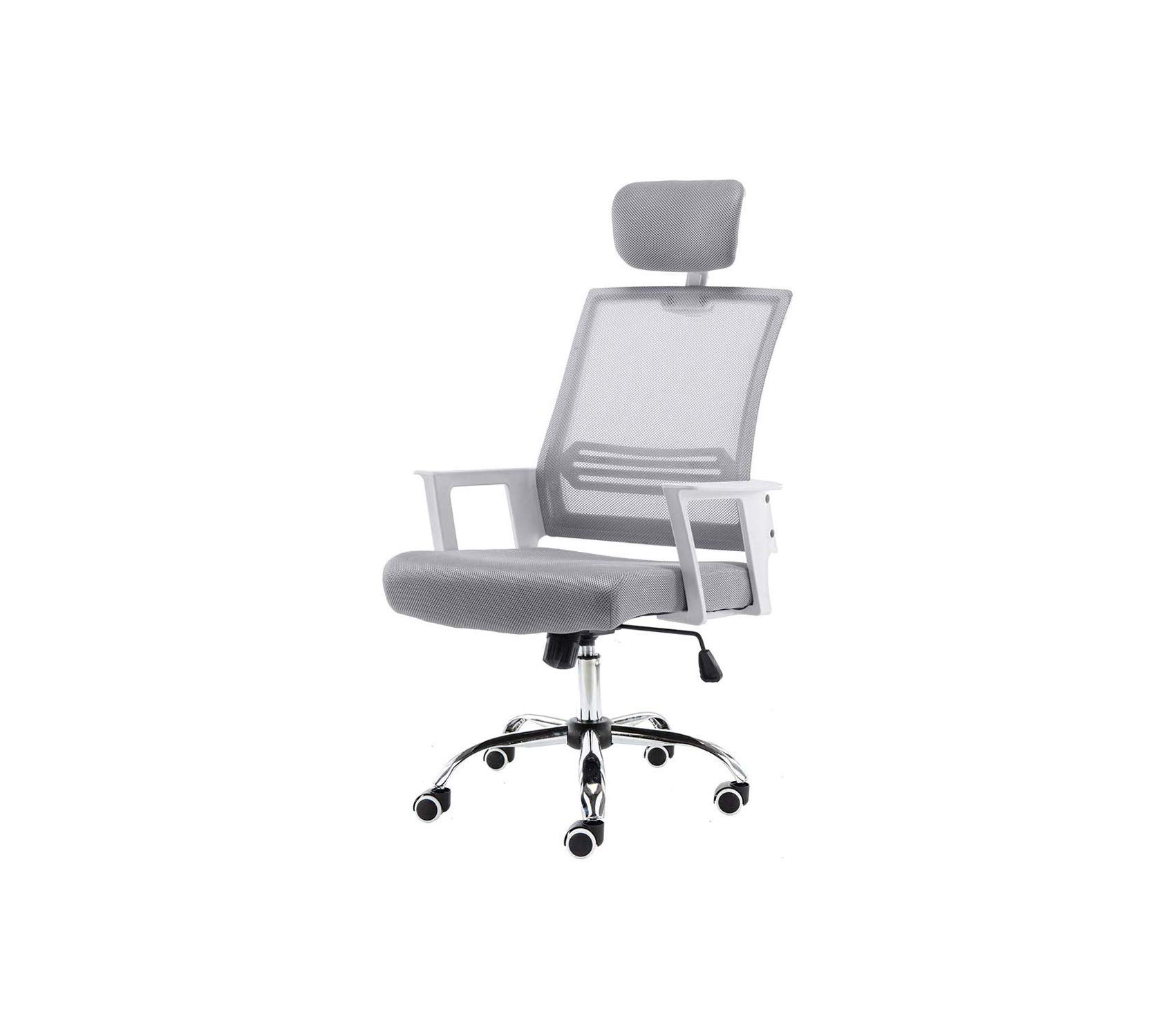 Mоdеrnhоmе Deluxe Premium Collection Home WHGRAY Metro Mid - Back Office Chair White/Gray Decor Comfy Living Furniture