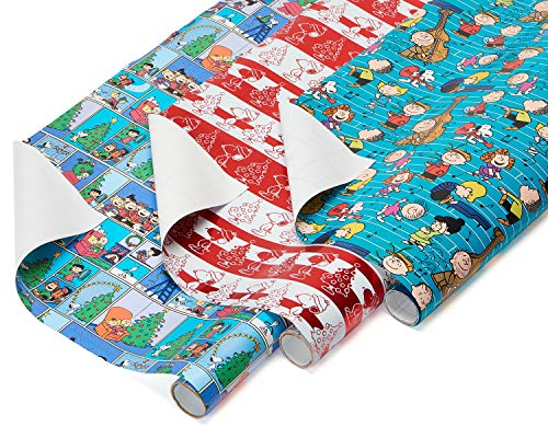 American Greetings Paper and Foil Christmas Bulk Gift Wrapping Paper Bundle, 3 Rolls; Peanuts, Snoopy and Charlie Brown, 60 Total sq. ft.