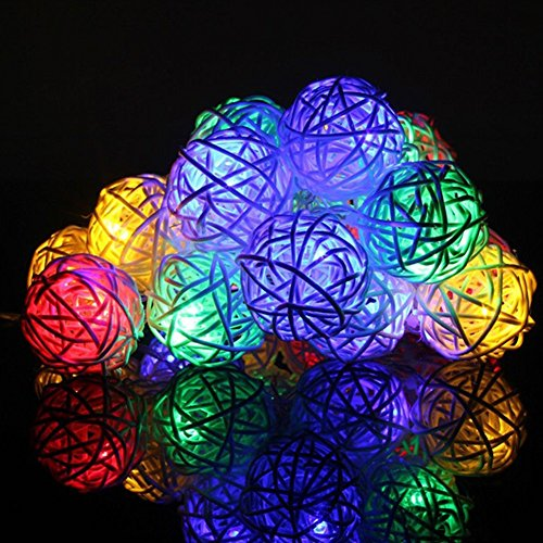 Rattan Light, Ball String Lighting Fairy Plug-and-Play 6.5ft Length 20 Balls, LED Decorative Takraw ball Lamp for Garden, Home, Wedding, Holiday, Christmas Tree, Halloween, Party (Multicolored) (Lights String Rattan Set 10 Ball)