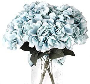 im`s Cabin Artificial Flowers Silk Hydrangea Flowers with 5 Big Heads Fake Flower Bunch Bouquet for Home Bedroom Wedding Cabin Decor DIY(Blue)