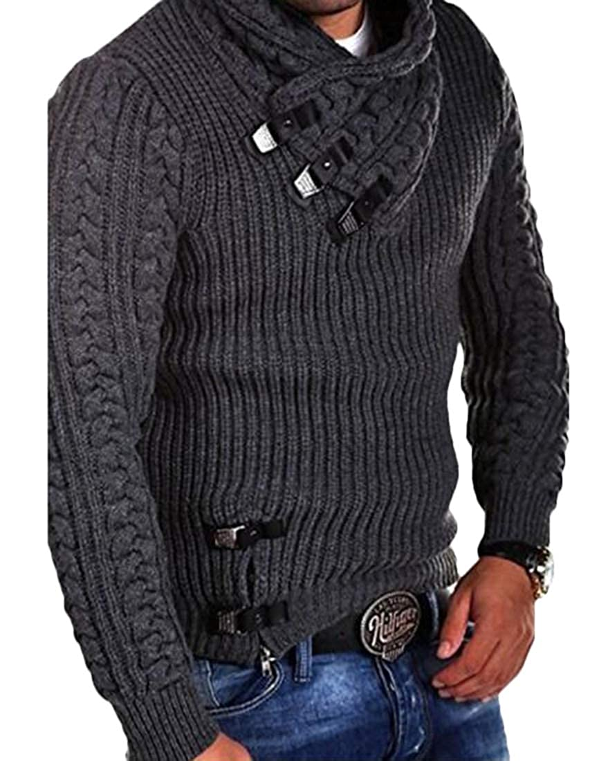 ARTFFEL Mens Pullover Knitted Long Sleeve Stand Collar Solid Sweater