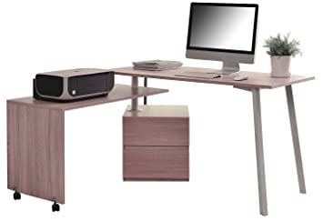 Sixbros scrivania porta pc quercia bianca aspetto legno ct