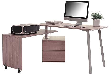 Sixbros. scrivania porta pc quercia bianca aspetto legno ct 3556