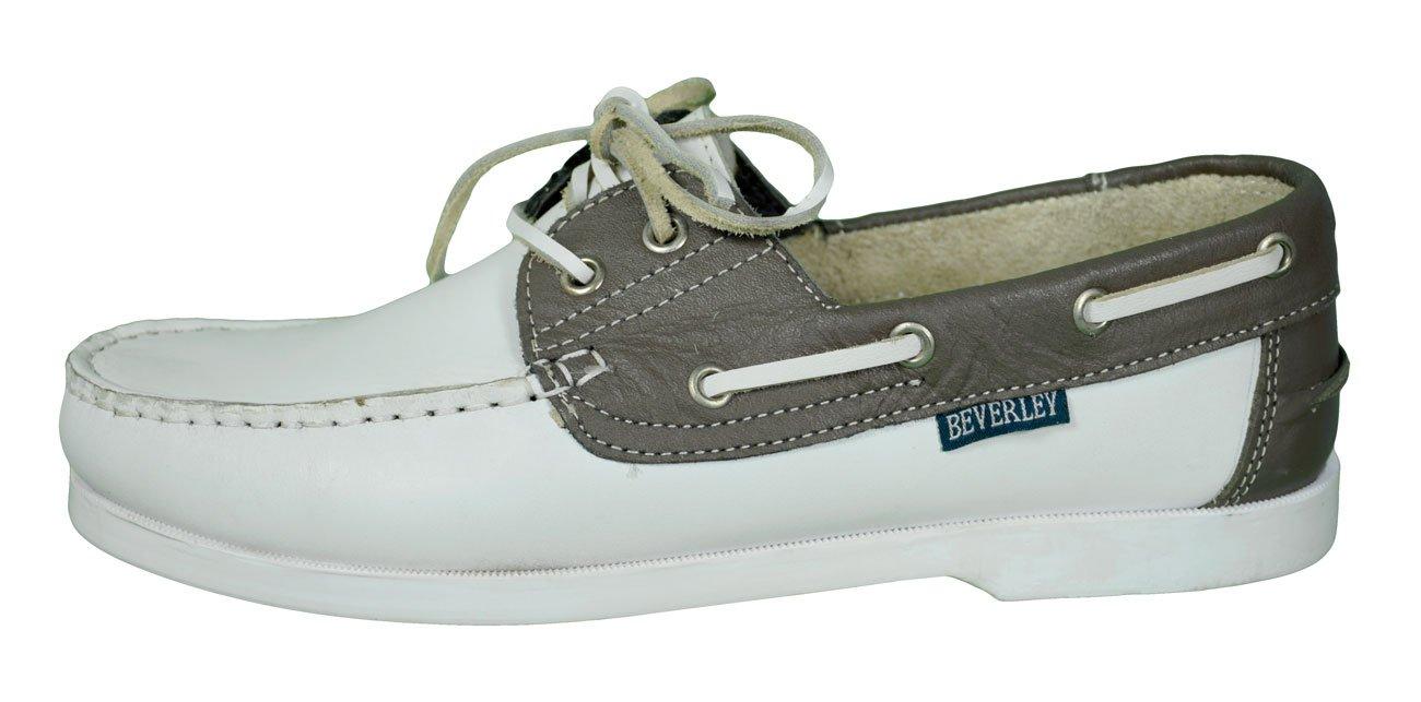 Beverly Originals Zapatos Barco Piel Hombre Men 's Casual Colour, (Weiß/Grau), 41 41 EU|Weiß/Grau