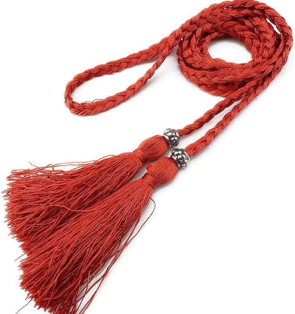 Las Mujeres De La Borla De La Cuerda Trenzada De La Cintura Correa De Las Se/ñoras Para El Vestido Fino De Cuero De La PU Vestido De Las Muchachas De La Correa De La Borla De La Franja De Cinturones De