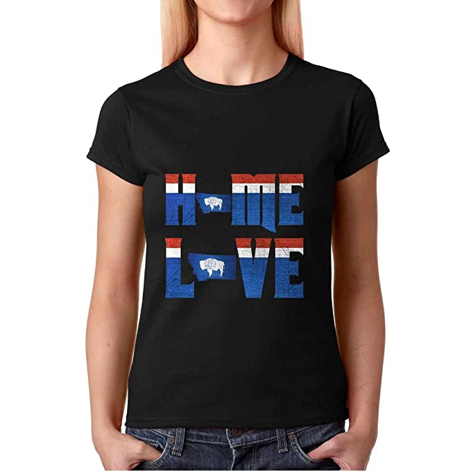 AW Fashions Home Love for The State of Wyoming - Distorted Premium Womens T-Shirt