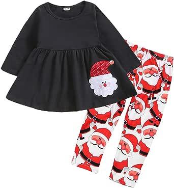 KONIGHT Christmas Kids Little Toddler Baby Girls Xmas Outfit Ruffled Dress Shirt+ Santa Claus Print Pants Winter Clothes Set