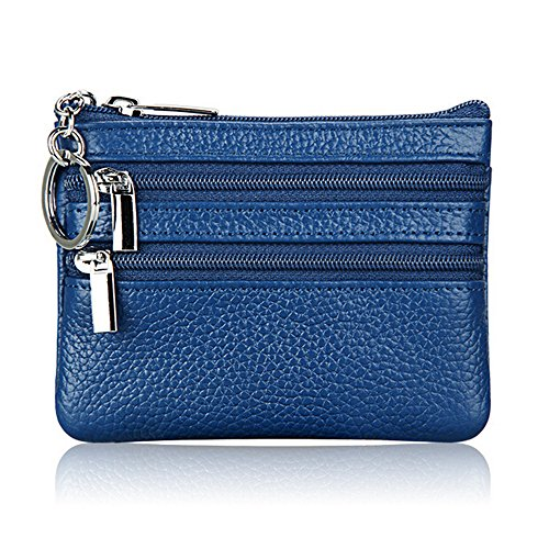 Price comparison product image Boshiho Cowhide Leather Coin Purse Dual Zipper Change Holder Wallet with Key Ring Keychain (Blue)