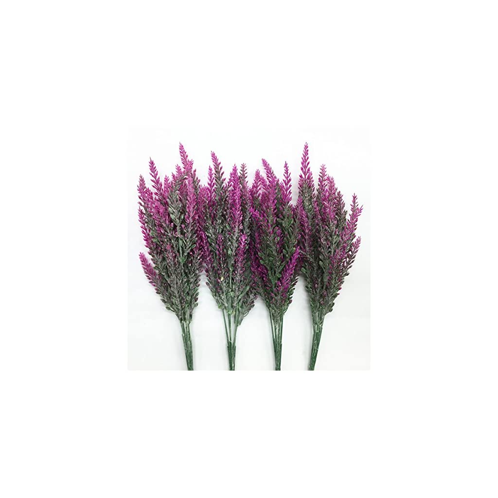 CATTREE Artificial Lavender, Plastic Plants Fake Flowers Bouquet Home Bridal Wedding Office Party Garden Balcony Indoor Outdoor DIY Centerpieces Arrangements Simulation Craft Decoration Rose Red 4pcs