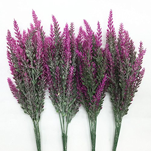 CATTREE Artificial Lavender, Plastic Plants Fake Flowers Bouquet Home Bridal Wedding Office Party Garden Balcony Indoor Outdoor DIY Centerpieces Arrangements Simulation Craft Decoration RoseRed 4pcs