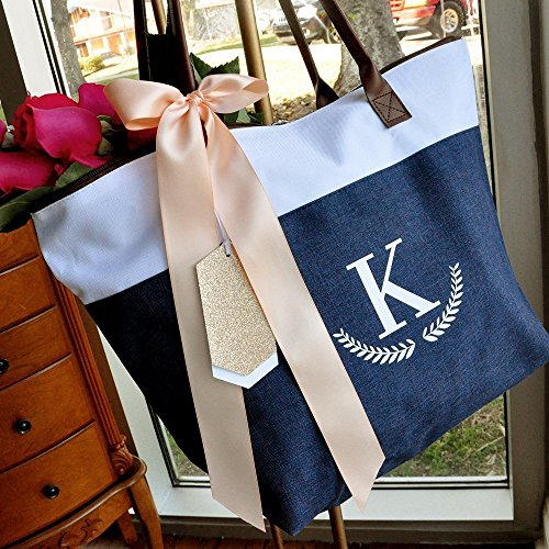 Navy Bridesmaid Tote Personalized (QTY. 1). Bridesmaid Zipper Bag. Monogram Tote Bag. (Personalized Tote Bags For Bridesmaids)
