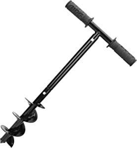 Garden Auger Drill, Laelr Earth Auger Drill with Non-Slip Handle, Post Hole Digger, 3.9