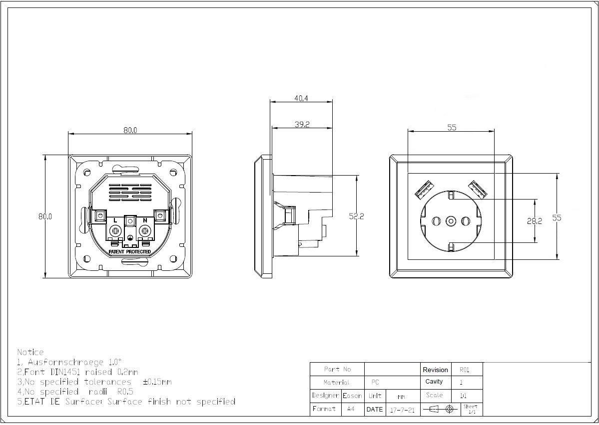 Wei/ß 230 V Schutzkontakt Schuko USB Steckdose Wandsteckdose Unterputz 2 x USB Ladeger/äte passend f/ür Gira System 55 1. Einfachsteckdose Reinwei/ß gl/änzend T/ÜV Rheinland gepr/üft