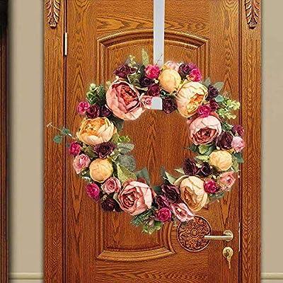 Weite Wreath Hanger Over The Door - [15 Inch] Premium Metal Hook Door Hanger for Christmas Wreath, Coats, Towels, Bathroom, Bedroom (White): Baby