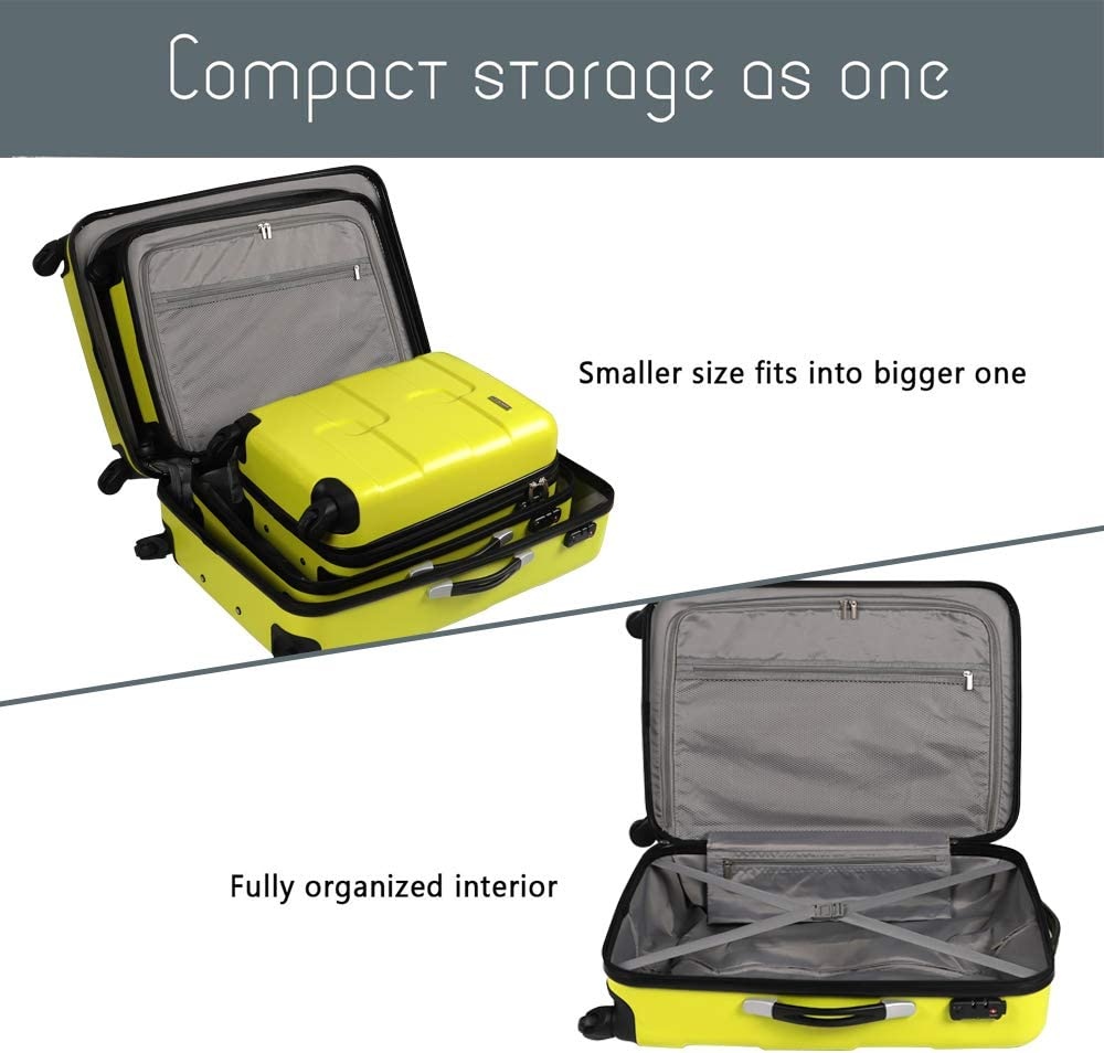 Navy Blue, 20 inch Hard Shell Travel Tripp Spinner Case Lightweight Anti-Scratch 4 Wheel Hand Luggage Vesgantti Large Suitcase with TSA Lock
