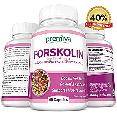 Pure Forskolin Extract - Weight Loss Supplement - with 40% Pure Forskolin Extract - Belly Buster - Appetite Suppressant - Best Fat Burners - For Women and Men - 60 All Natural 300mg Capsules
