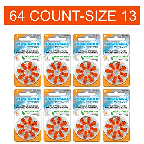 Powermax Size 13 Hearing Aid Batteries, Orange Tab, Zinc Air Mercury-Free, HearRite, 64 Count (Best Hearing Aid Batteries 13)