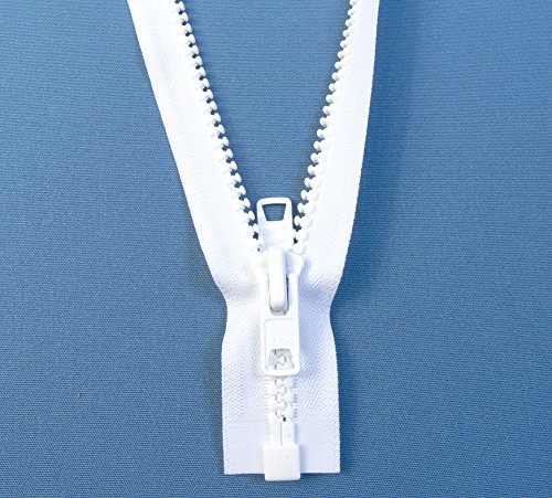 Zipper, White #10 YKK Brand Separates at the Bottom, Marine Grade Metal Tab Slider, Heavy Duty (36