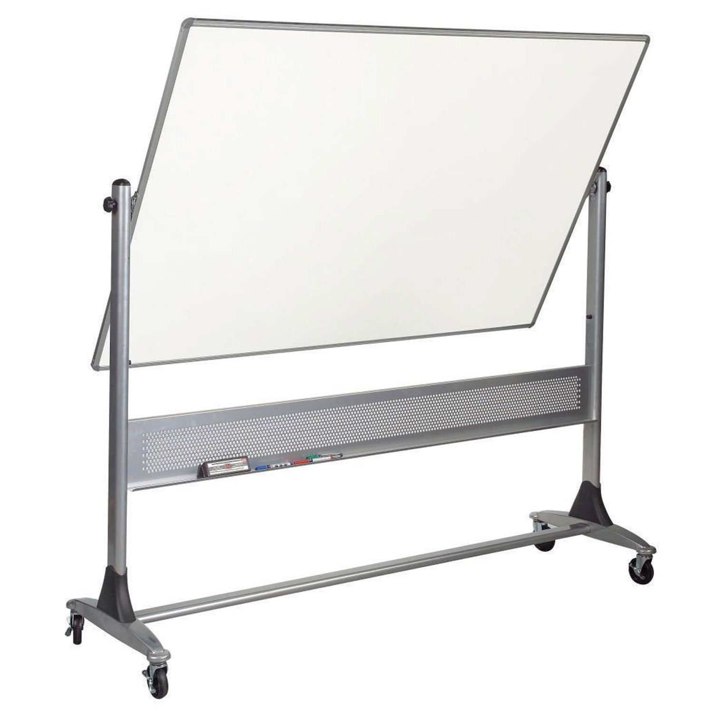 Platinum Mobile Reversible Whiteboard Easel, Porcelain Markerboard/Natural Cork Surface (669RH-DC) , 4 x 8 Feet Panel Size