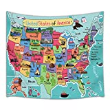 HNMQ Kids United States Cartoon Map Tapestry, Geography USA World Map, Wall Art Hanging for Bedroom Living Room Dorm, 71 X 60 Inches Wall Blankets Home Decor