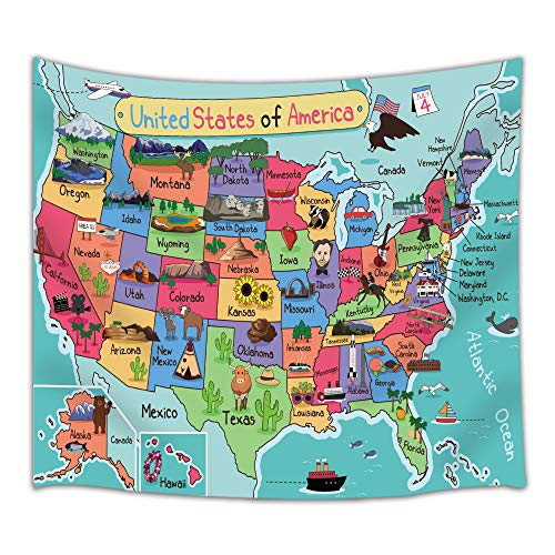 HNMQ Kids United States Cartoon Map Tapestry, Geography USA World Map, Wall Art Hanging for Bedroom Living Room Dorm, 71 X 60 Inches Wall Blankets Home Decor by HNMQ