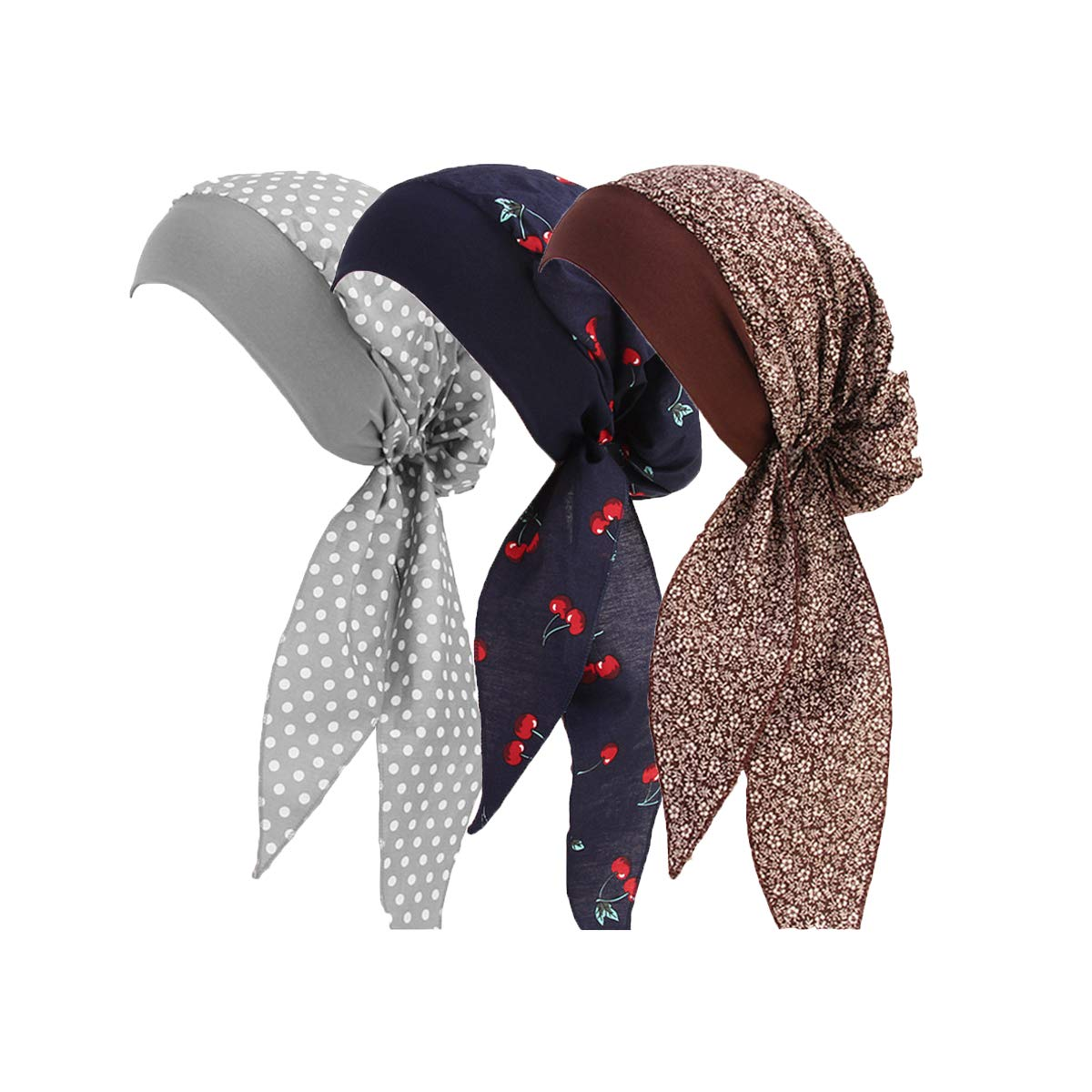 Ever Fairy Vintage Elastic Wide Band Cotton Multifunction Hair Loss Wrap Print Bonnet Chemo Women Head Scarf Turbans Night Sleep Hat Cap (3 Color Pack C)
