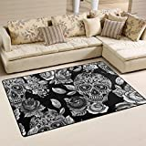 "Sugar Skull Dia De Los Muertos Area Rug Carpet Floor Mat For Dining Room Living Room Bedroom,Size 2'7""X1'8"" and 5'X3'3"" Available."
