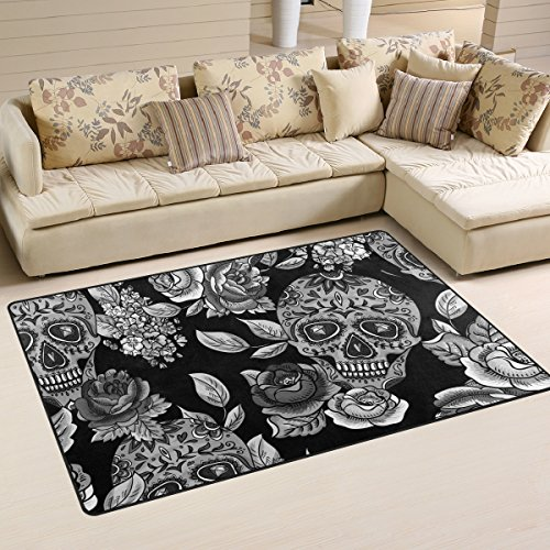 Glass Top Dia (Sugar Skull Dia De Los Muertos Playmat Floor Mat for Dining Room Living Room Bedroom,Size 2'7