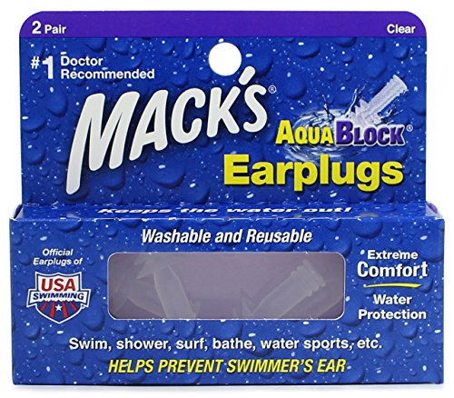 Macks Soft Flanged (2-Pair) Aqua Block Earplugs, Clear
