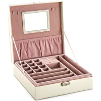DCCN Jewelry Box Accessori più Scomparti Cosmetici Storage Case con Specchio