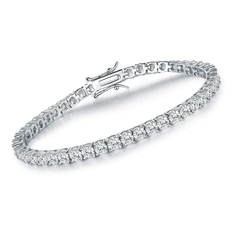 VOLUKA 925 Sterling Silver 4mm Cubic Zirconia Tennis Bracelet for Women Men Girls 7.5in CZ Bracelets Jewelry Gifts by VOLUKA