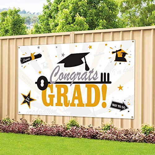Large Fabric Graduation Party Banner 78''x45'' for Graduation Party Supplies 2019, Photo Prop/Booth Backdrop, Graduation Decorations -