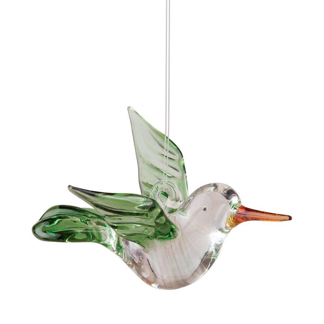 Hummingbird Green Art Glass Hanging Ornament