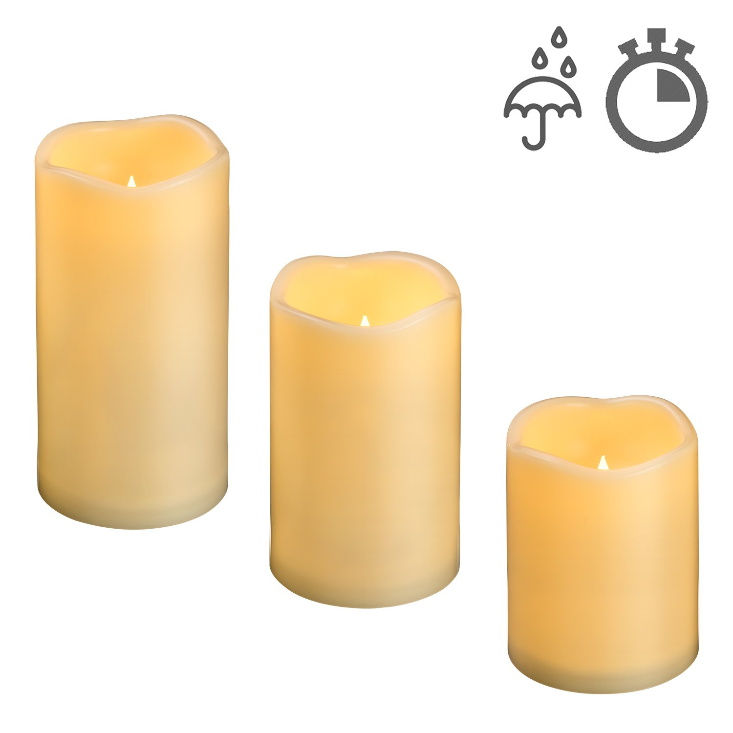 4''5''6'' Outdoor Indoor Waterproof LED Flameless Flickering Pillar Candles with Timer / Large Battery Operated Electric Candles Set for Outdoor Lantern Decorative Long Lasting 1500 Hours