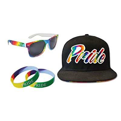 We Show Pride Gay Pride Pack - Rainbow Style Sunglasses, 2 Wristbands & Snapback Cap