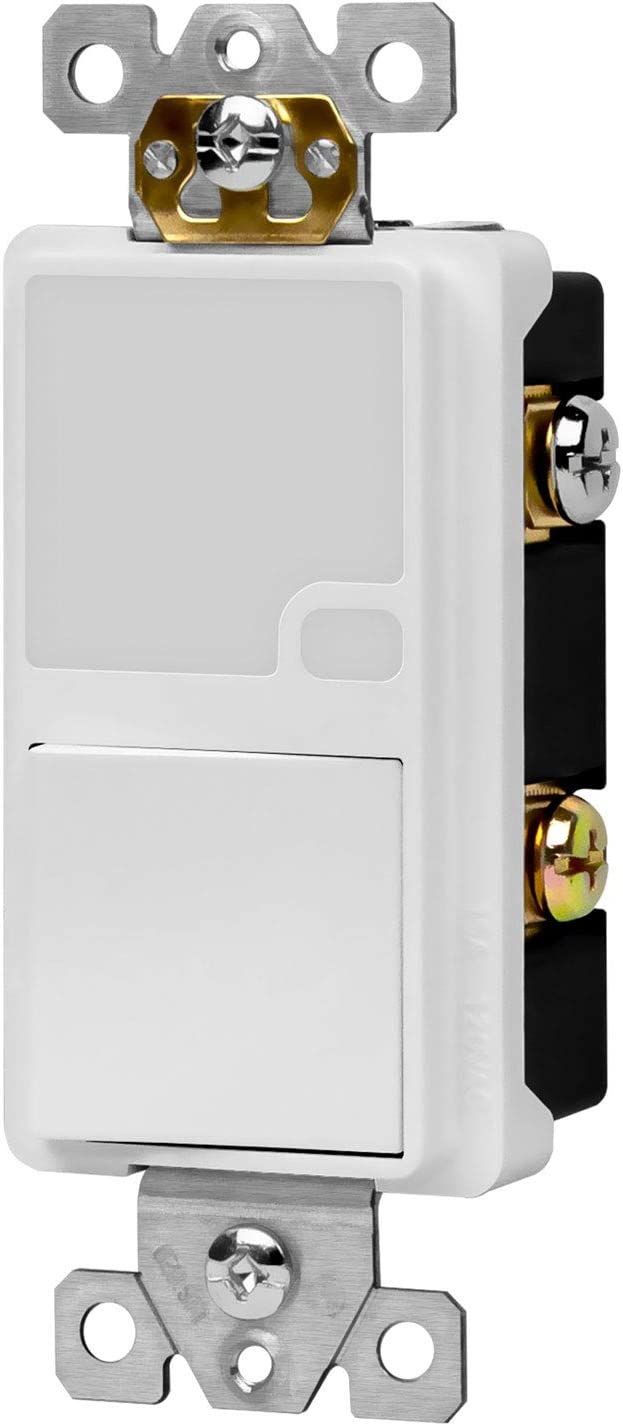 TOPGREENER Child Safe Combination Decorator Light Switch LED Guide Light with Automatic Sensor, 120VAC/ 15A Single Pole Neutral Wire Required, TG115SGL, White