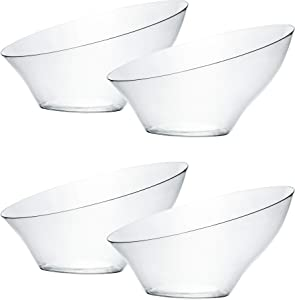 Plasticpro Disposable Angled Plastic Bowls Round Small Serving Bowl, Elegant for Party's, Snack, or Salad Bowl, Clear Pack of 8
