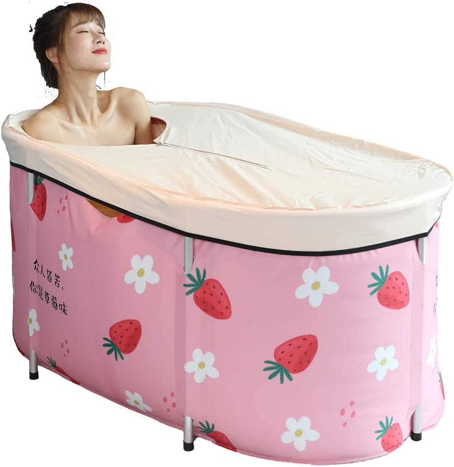 1,Single barrel 100x77x56cm Portable Bathtub Foldable Soaking Bathing Tub with Thermal Foam to Keep Temperature for Adults Freestanding Shower Stall 393022in