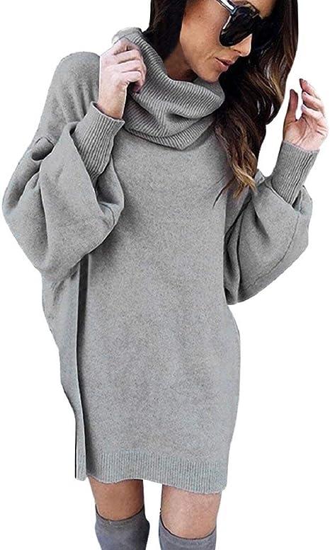 DEELIN Vestido Mujer Invierno Casual Fiesta Moda sólido Cuello de Tortuga Manga Larga Casual Simple Suelto suéter: Amazon.es: Ropa y accesorios