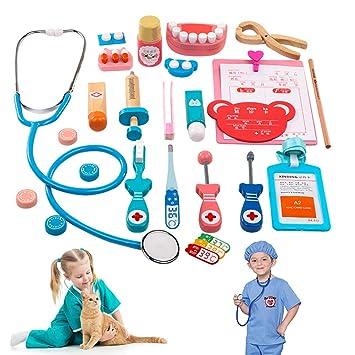 Doctora Juguetes de madera Kit médico para niños, 24 piezas Juego de kit médico para dentistas pretender-y-jugar Estetoscopio con 3,4,5 años Chicas de ...