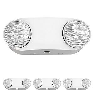 Freelicht 4 Pack Emergency Light, Emergency Lights for Business, Emergency Lighting with Battery Backup, Two Head Adjustable LED Emergency Lighting, UL 924 Certified