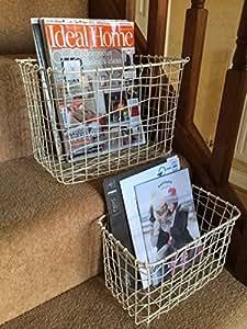 Cream Wire Basket Magazine Post Toiletries Stairs Storage Vintage Hamper 2 Sizes