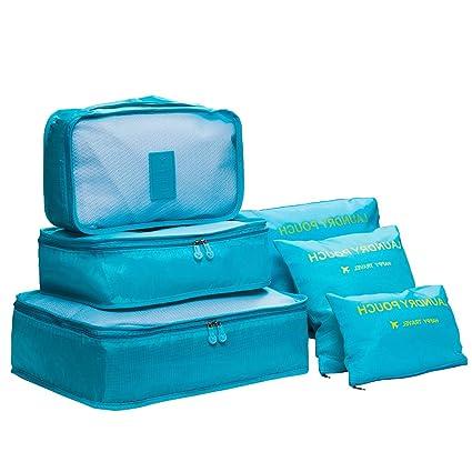 DoGeek- 6 en 1 Set de Organizador de Equipaje Viaje con Bolsa de Zapato,Impermeable Organizador de Maleta Bolsa para Ropa Sucia de Viaje, Material ...
