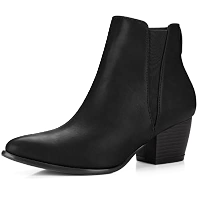 Women's Pointed Toe Stacked Heel Ankle Chelsea Boots
