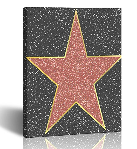 Emvency Painting Wall Art Canvas Print Square 12x16 Inches Walk of Fame Hollywood Boulevard Celebrity Star Blank on Granite Sign Personal Decoration Wooden -